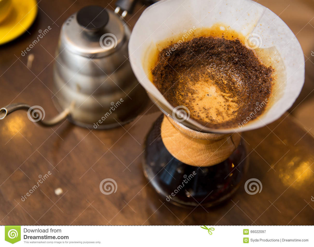 close up of coffeemaker and coffee pot stock photo image 66022097. Black Bedroom Furniture Sets. Home Design Ideas