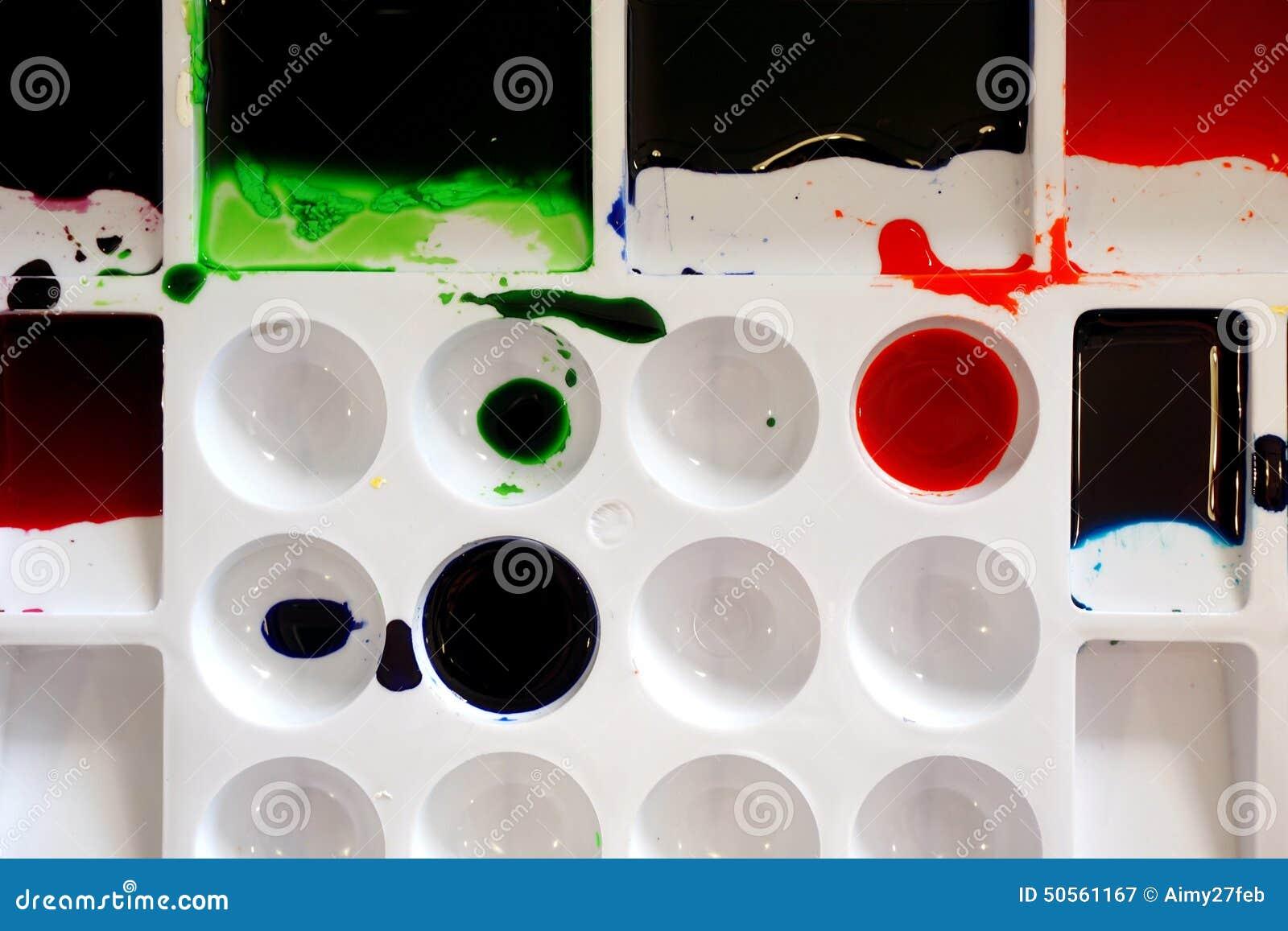 Close up of color pallet (batik color)