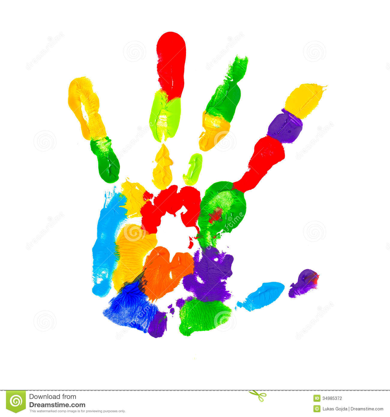 close up of colored hand print stock photography image 34985372