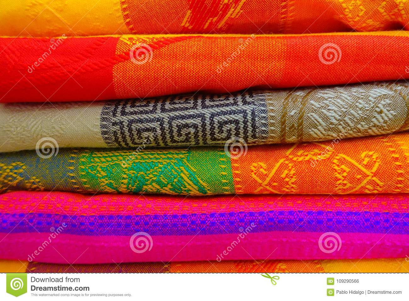 Close Up Of Colorful Mexican Blankets For Sale At Market