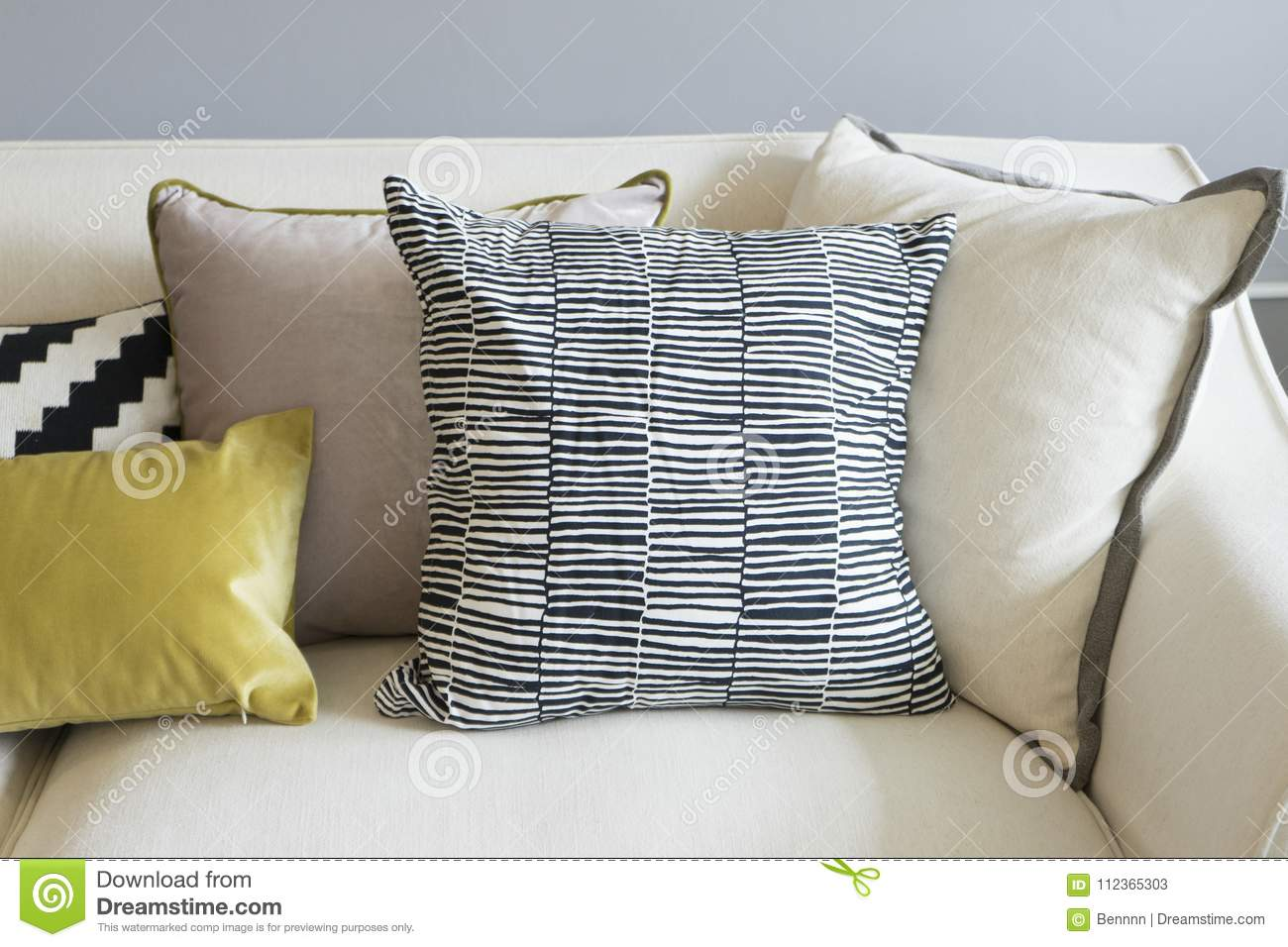 Remarkable Colorful Pillows On Sofa In Modern Living Room Stock Image Cjindustries Chair Design For Home Cjindustriesco