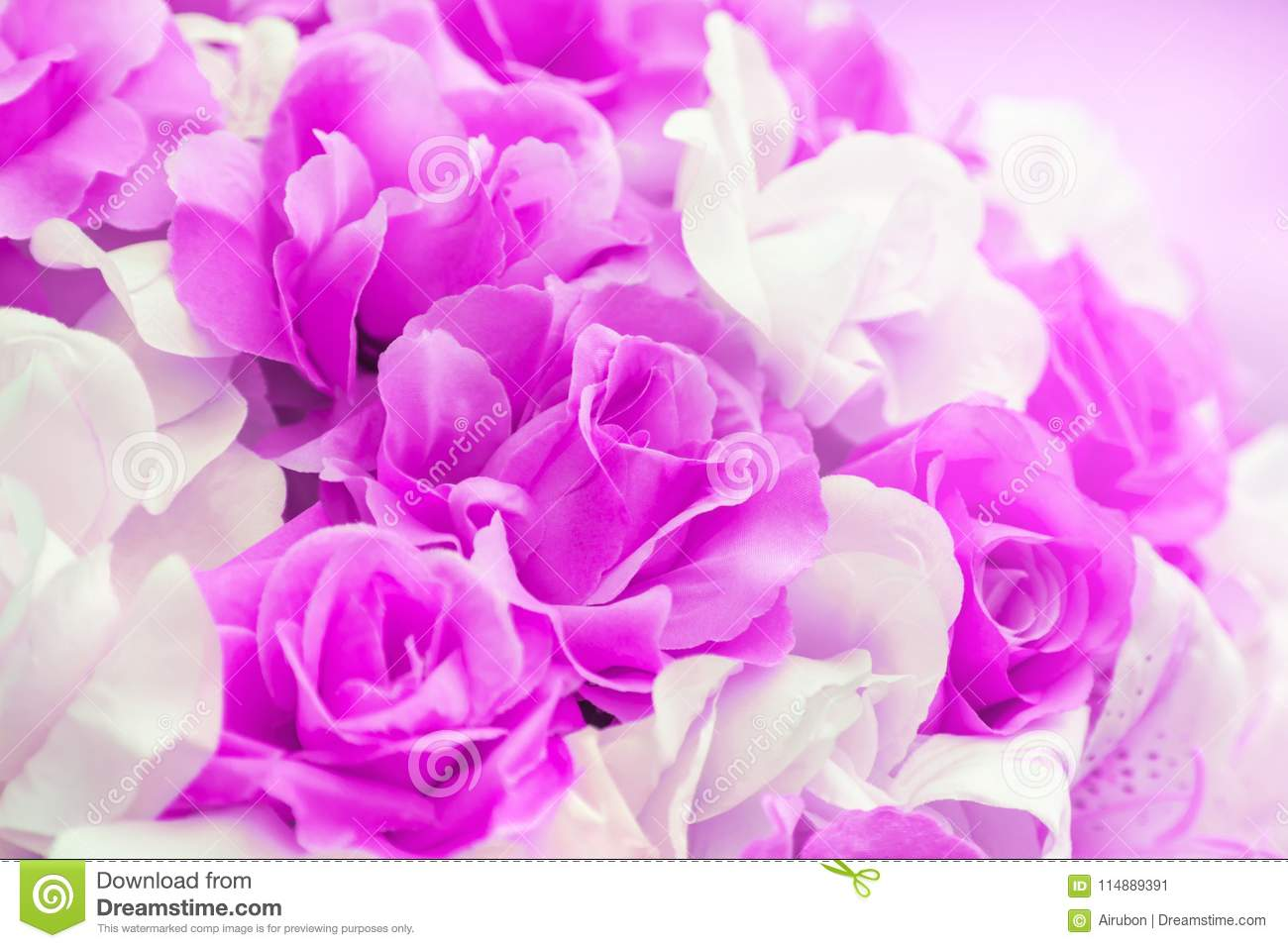 Close Up Colorful Of Soft Pink Rose Fabric Artificial Wedding ...