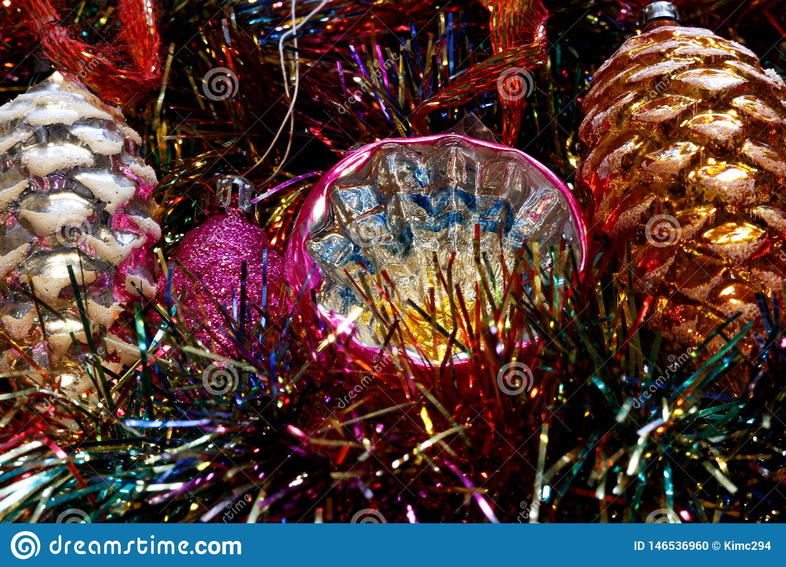 Vintage Christmas Tree Decorations On A Bed Of Glitter Stock Photo Image Of Shining Pink 146536960