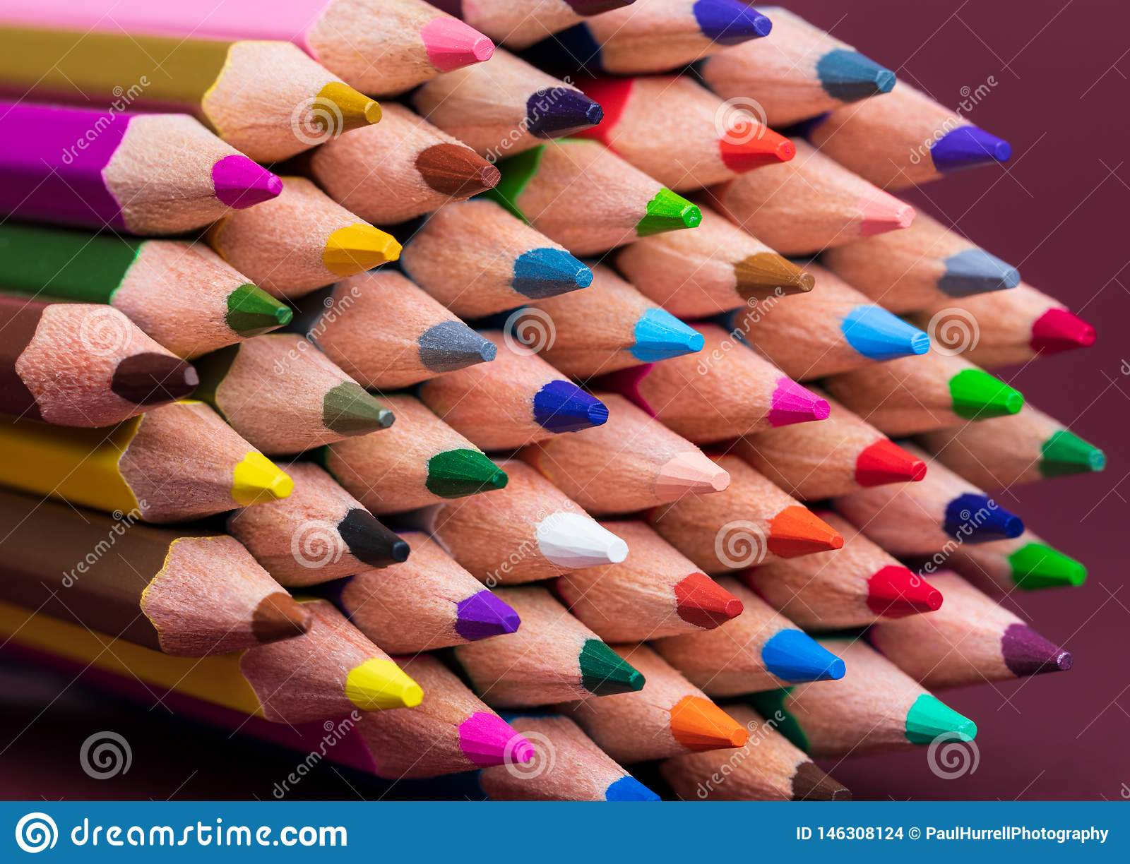 Close Up of Coloured Pencil Tips