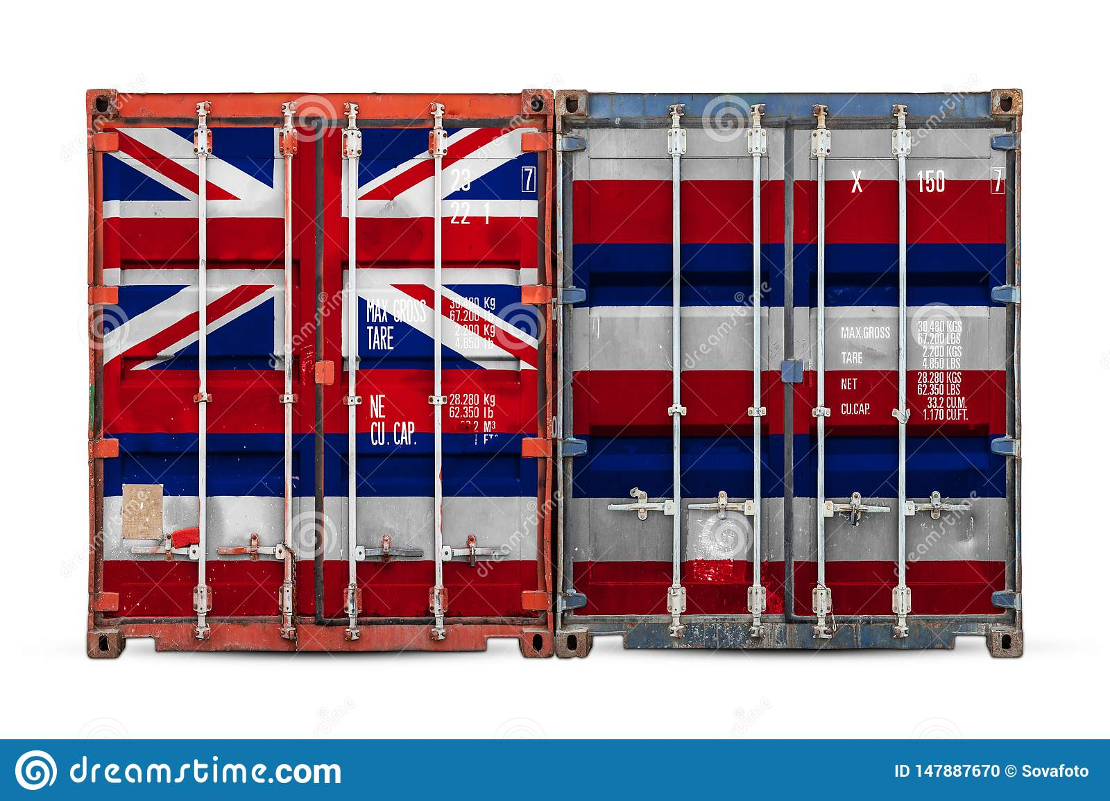Close-up of the container with the national flag