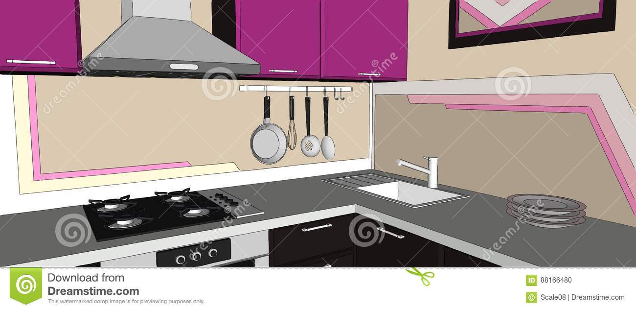 Kitchen Hob Cartoon ~ Close up of contemporary violet and brown kitchen corner