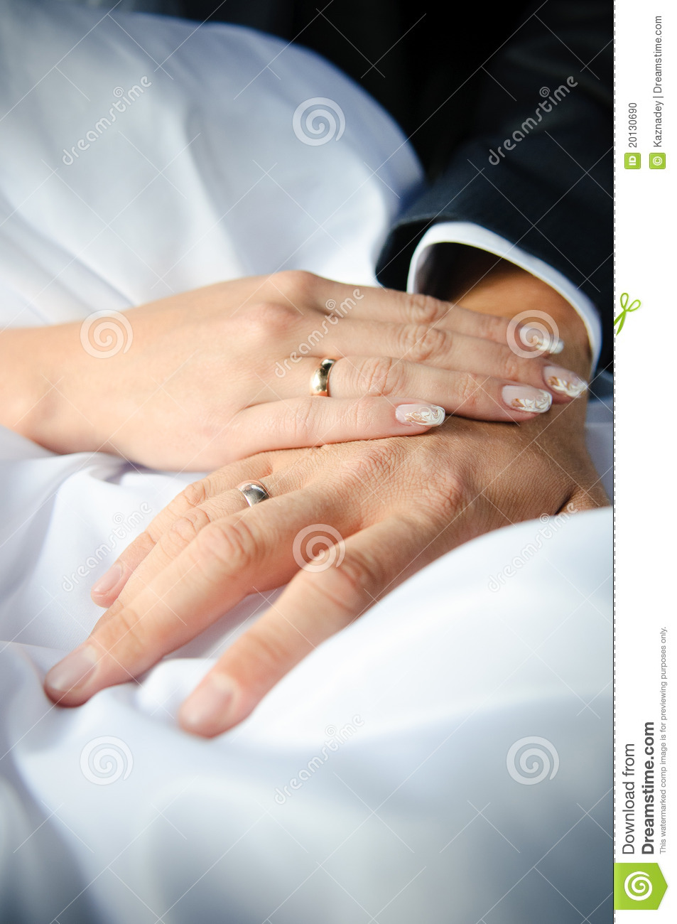 Close-up Of Couple's Hands With Wedding Rings Stock Photo ...