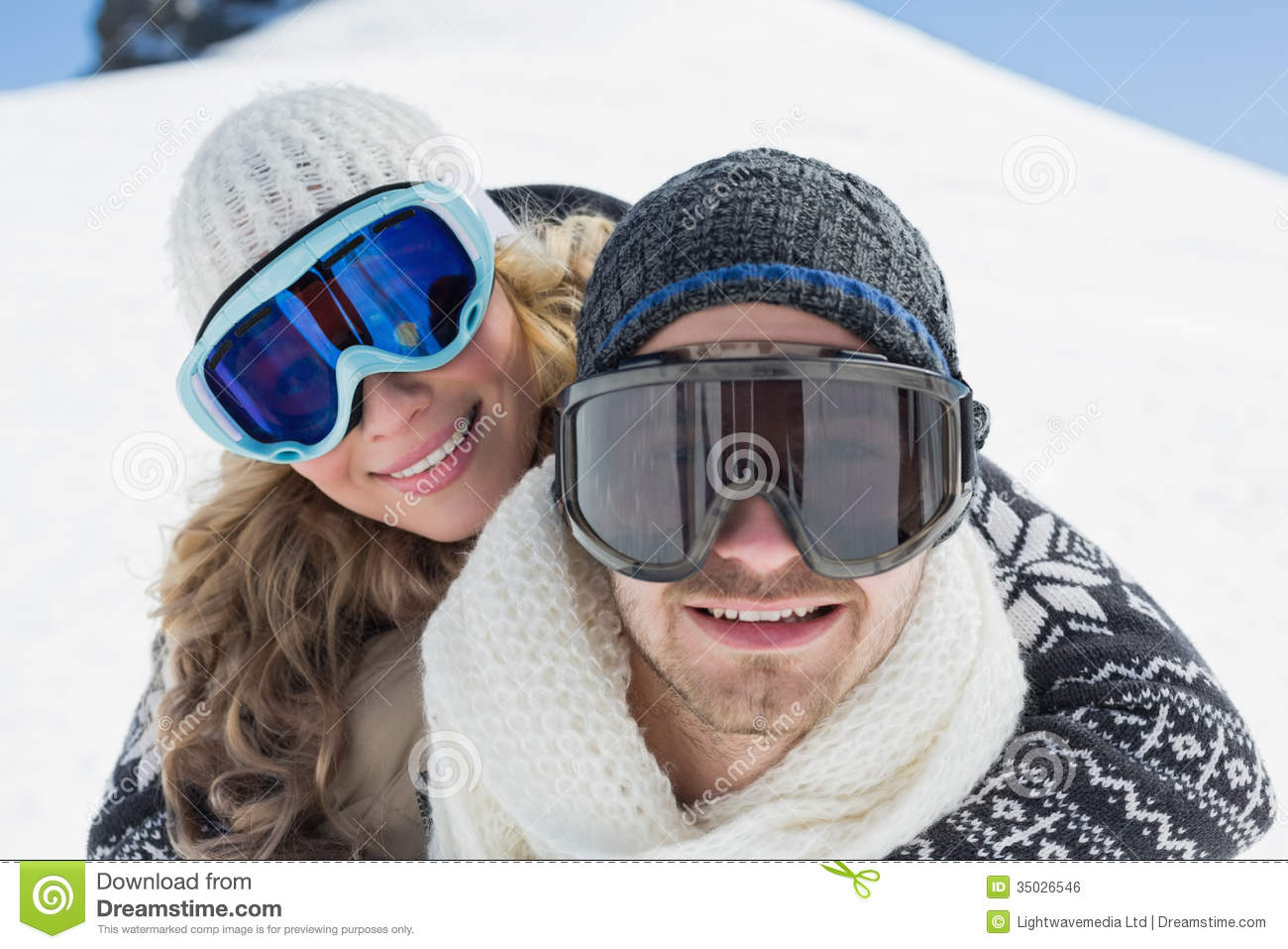 best ski goggles women  Close Up Of A Couple In Ski Goggles Against Snow Royalty Free ...