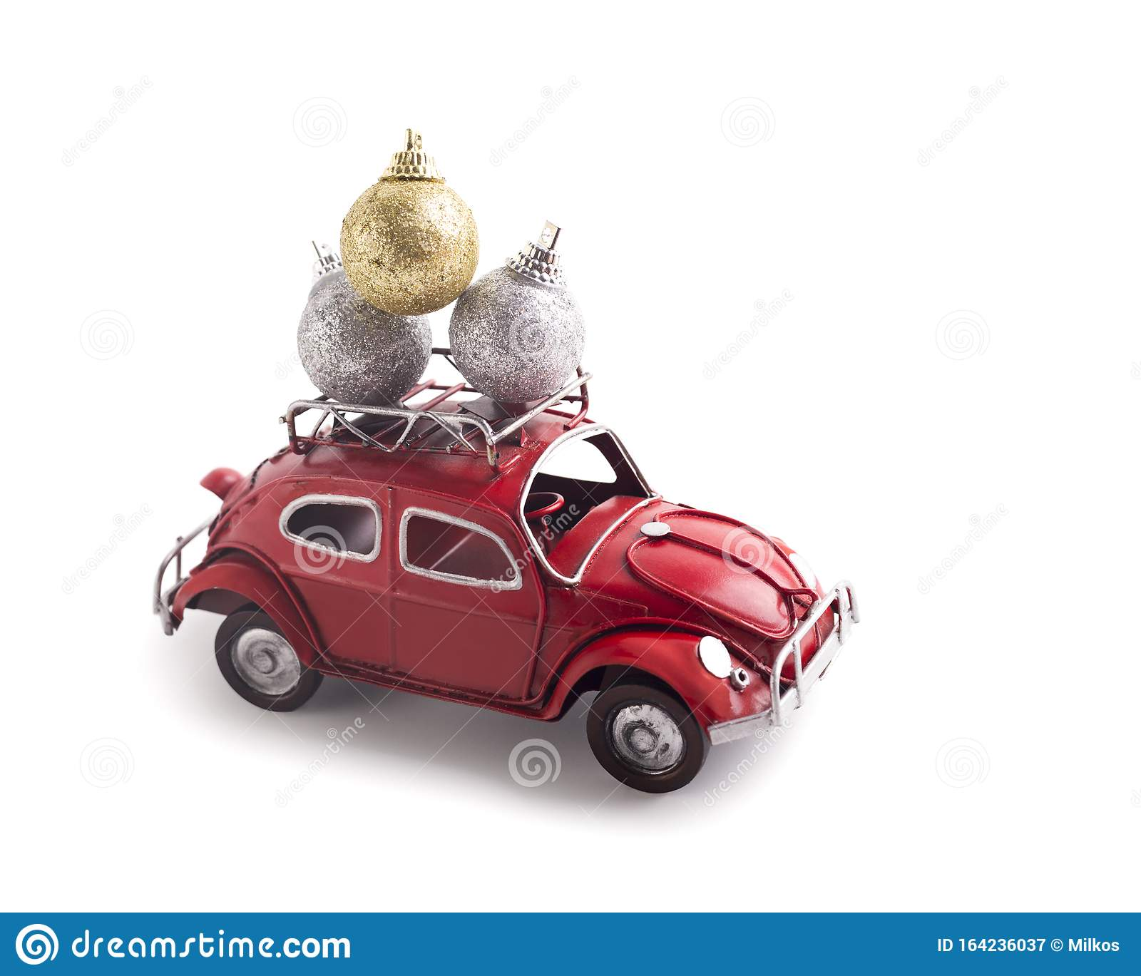Close Up Of Creative Car Volkswagen Beetle Carrying Christmas Balls On White Editorial Photography Image Of Present Background 164236037