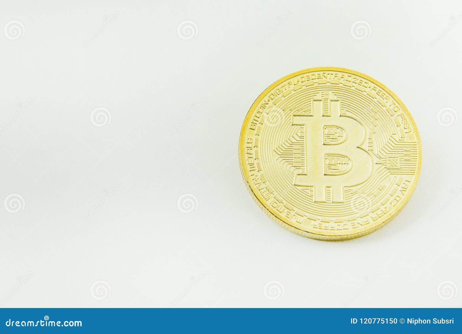 Close up cripto da imagem do dinheiro eletrônico da moeda de Bitcoin
