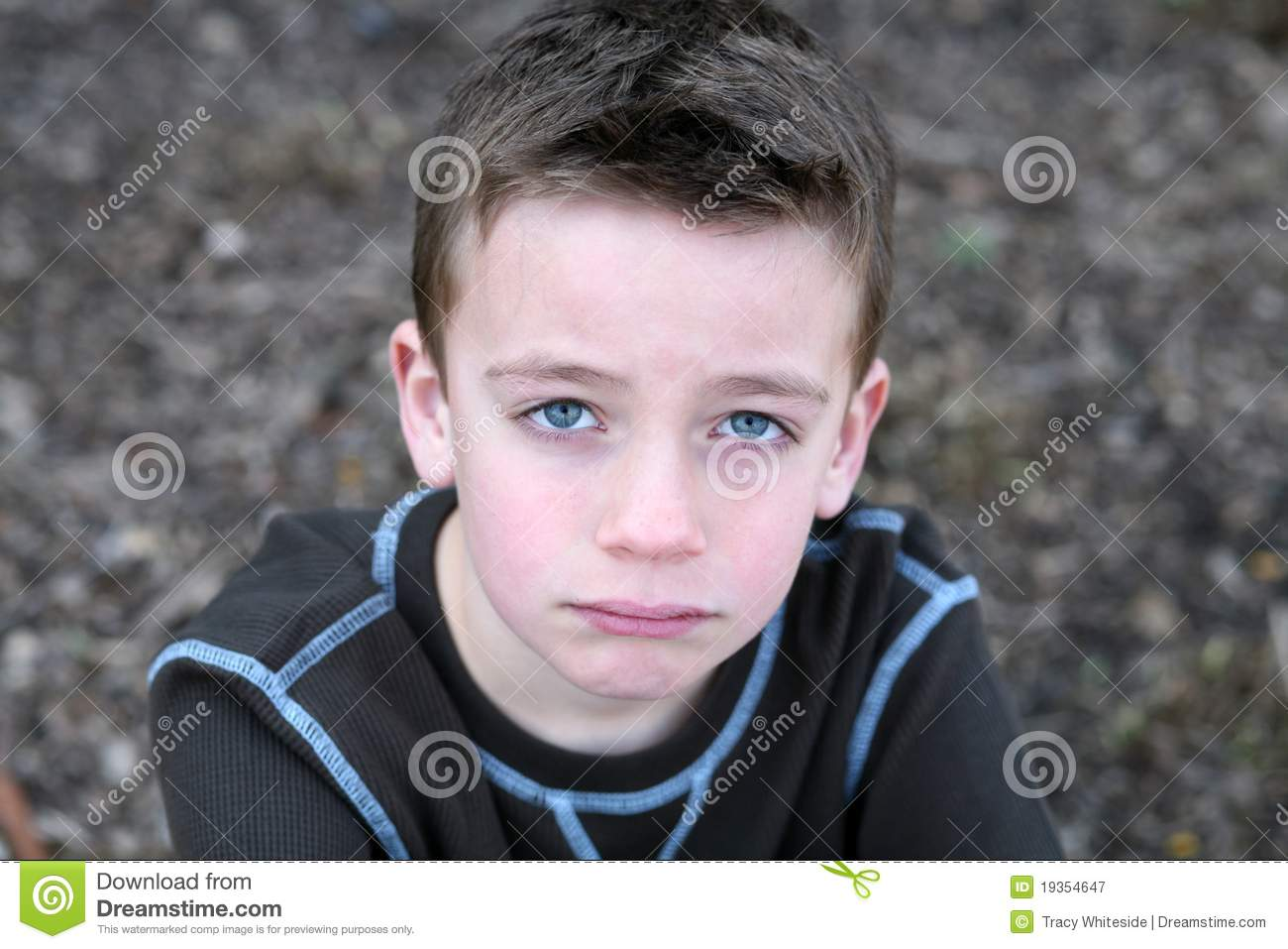 Close Up Of Cute Boy With Sad Face Stock Image Image