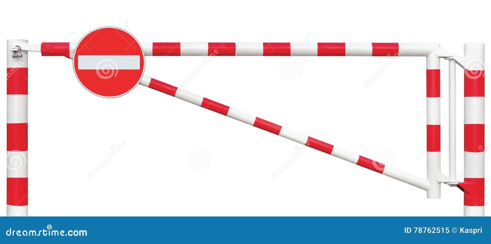 Close up da barreira da galeria, nenhum sinal da entrada, barra de porta da estrada no bloco brancos e vermelhos, do tráfego da p