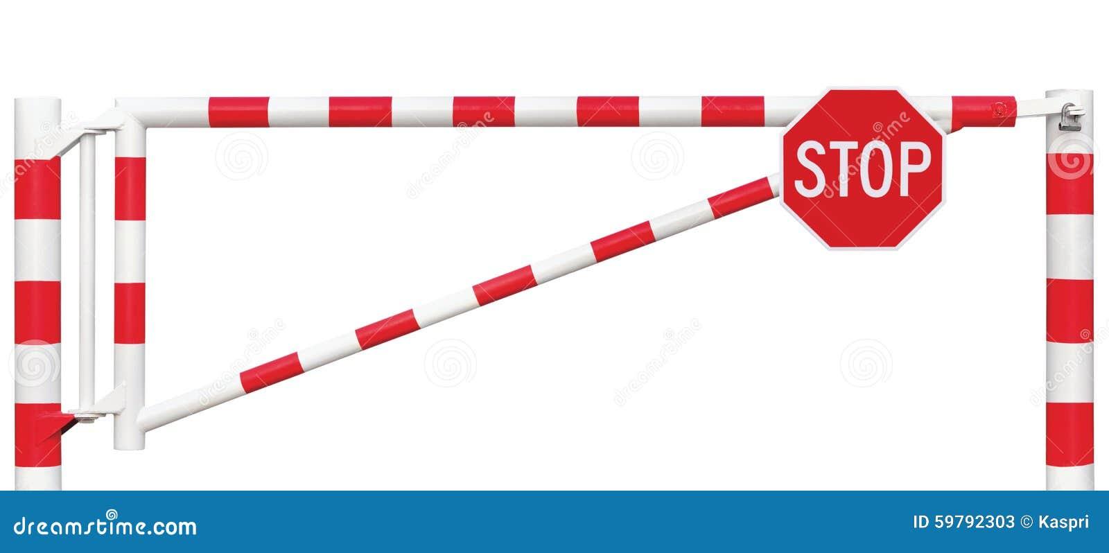 Close up da barreira da galeria, sinal octogonal da parada, ponto vermelho branco brilhante da segurança do veículo do bloco da p