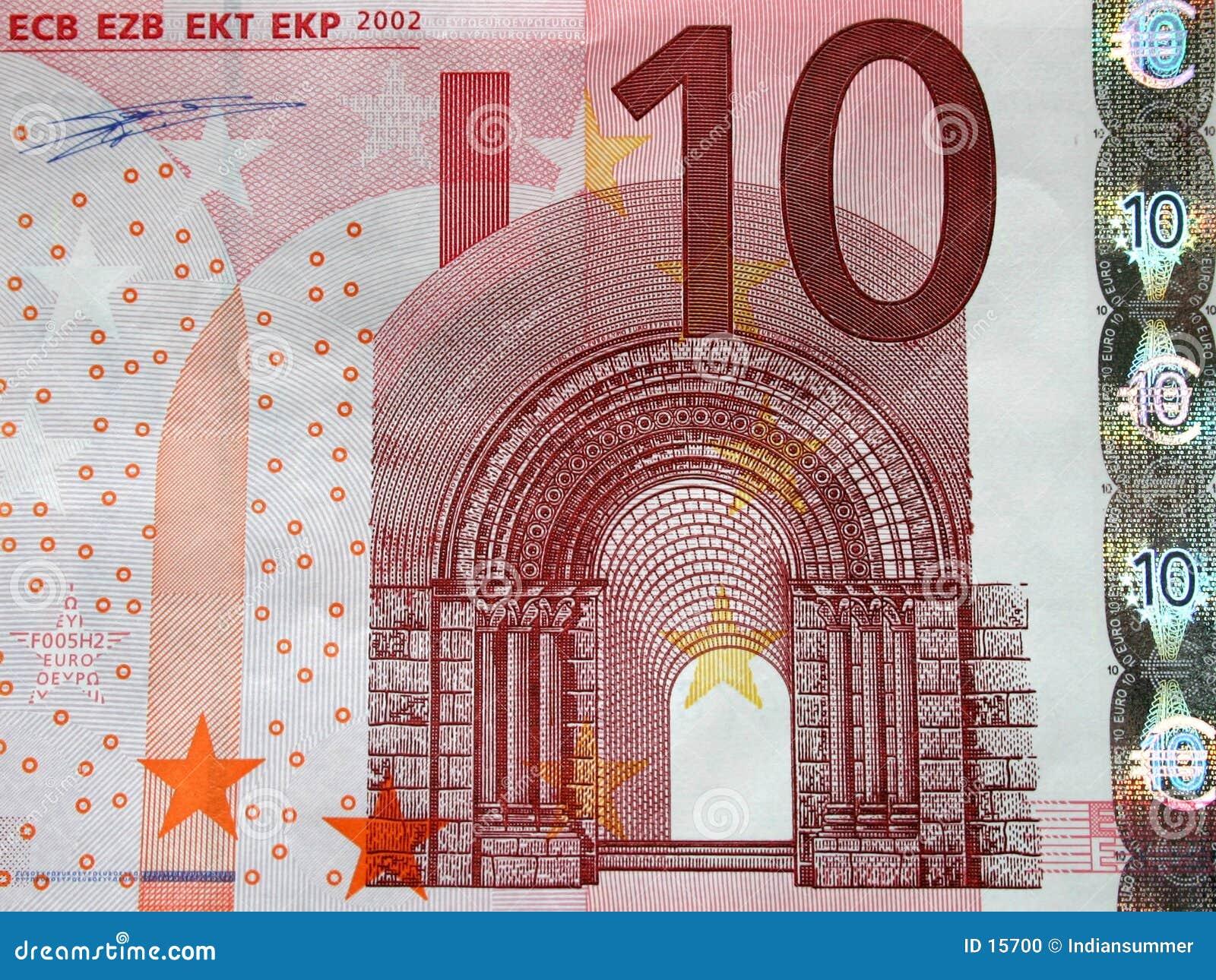 Close-up da conta de 10 euro, detalhe