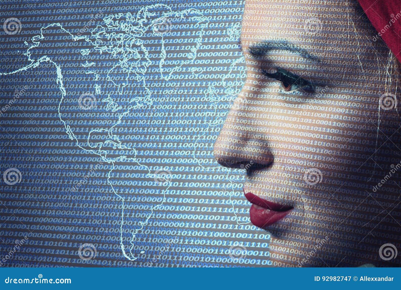 Close-up da fiscalização de Digitas da mulher Tecnologia de segurança concentrada