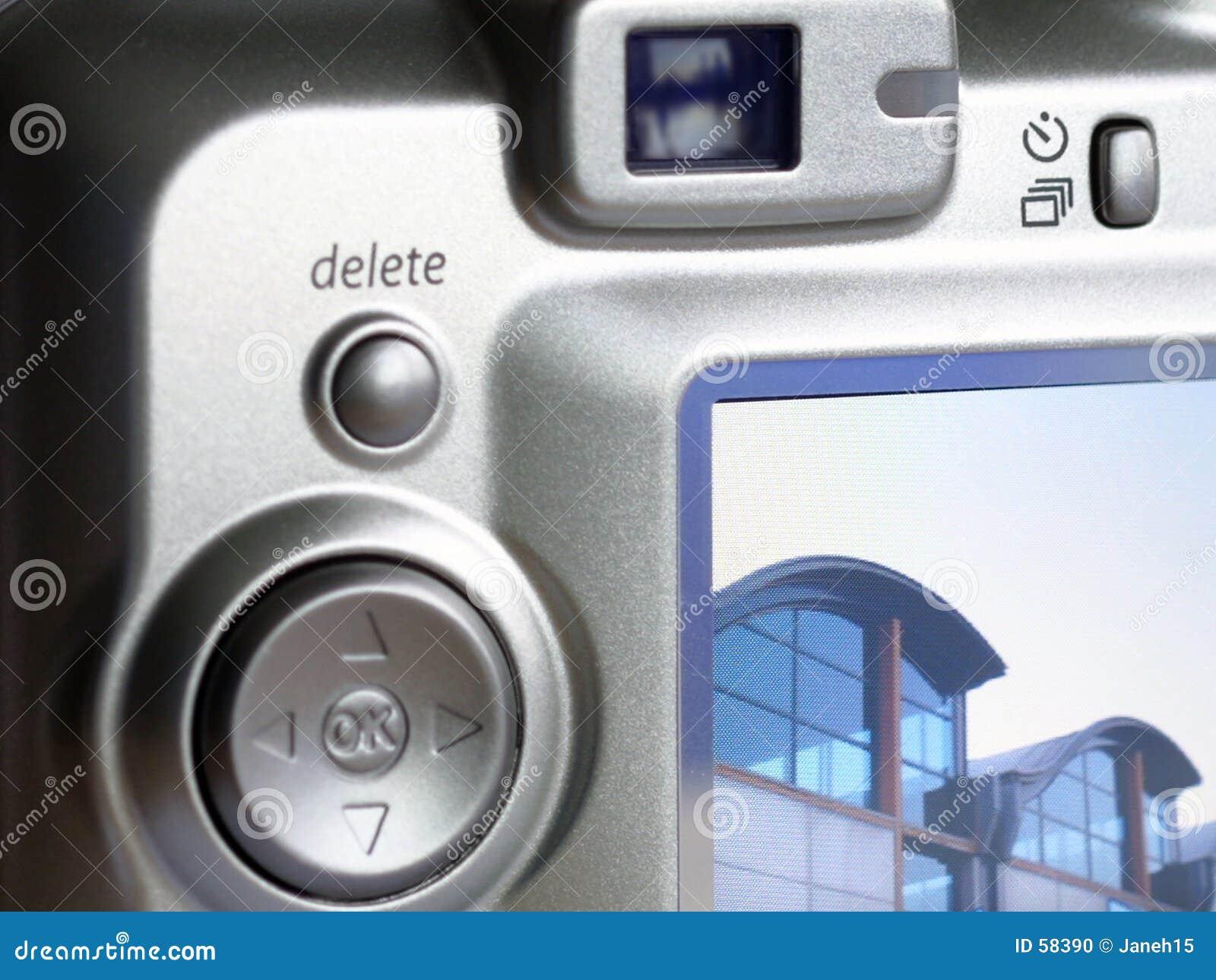 Close-up da parte traseira da câmara digital