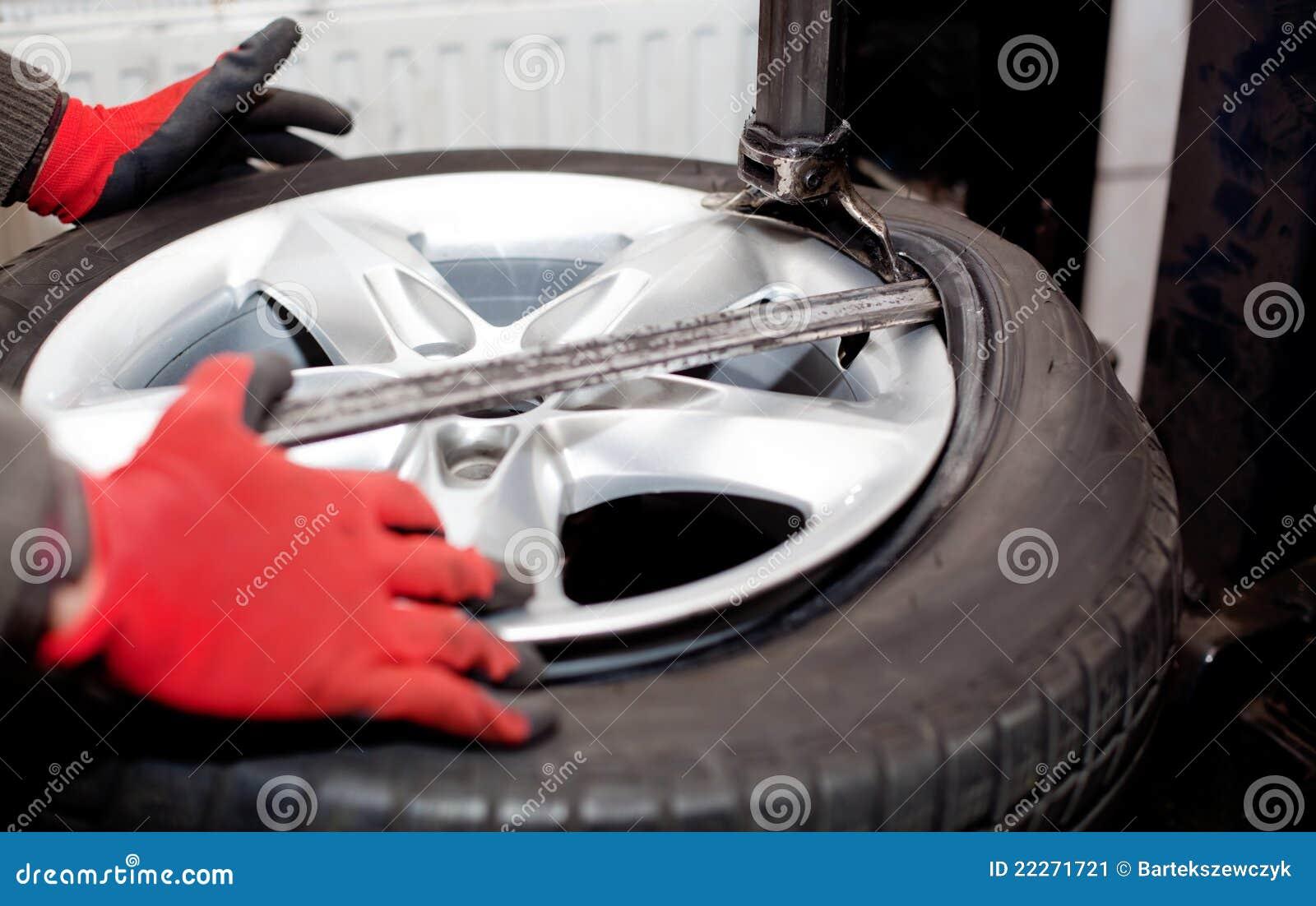 Close up da rotação do pneu