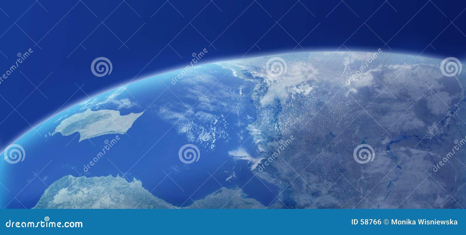 Close up da terra com atmosfera