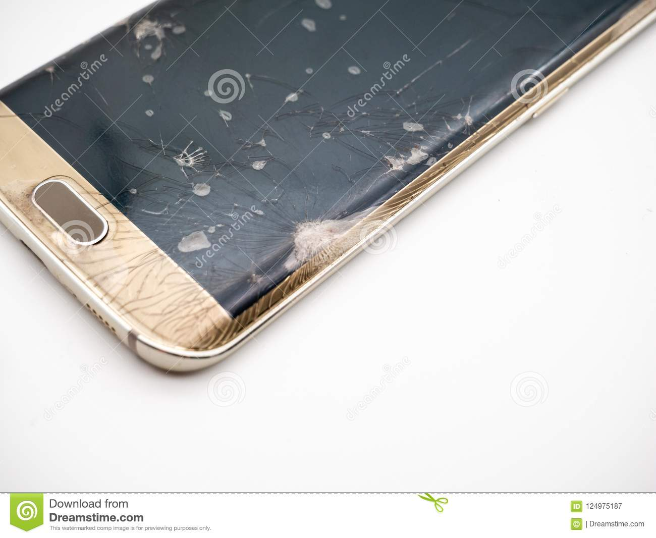 Close-up of damaged smartphone display with white background