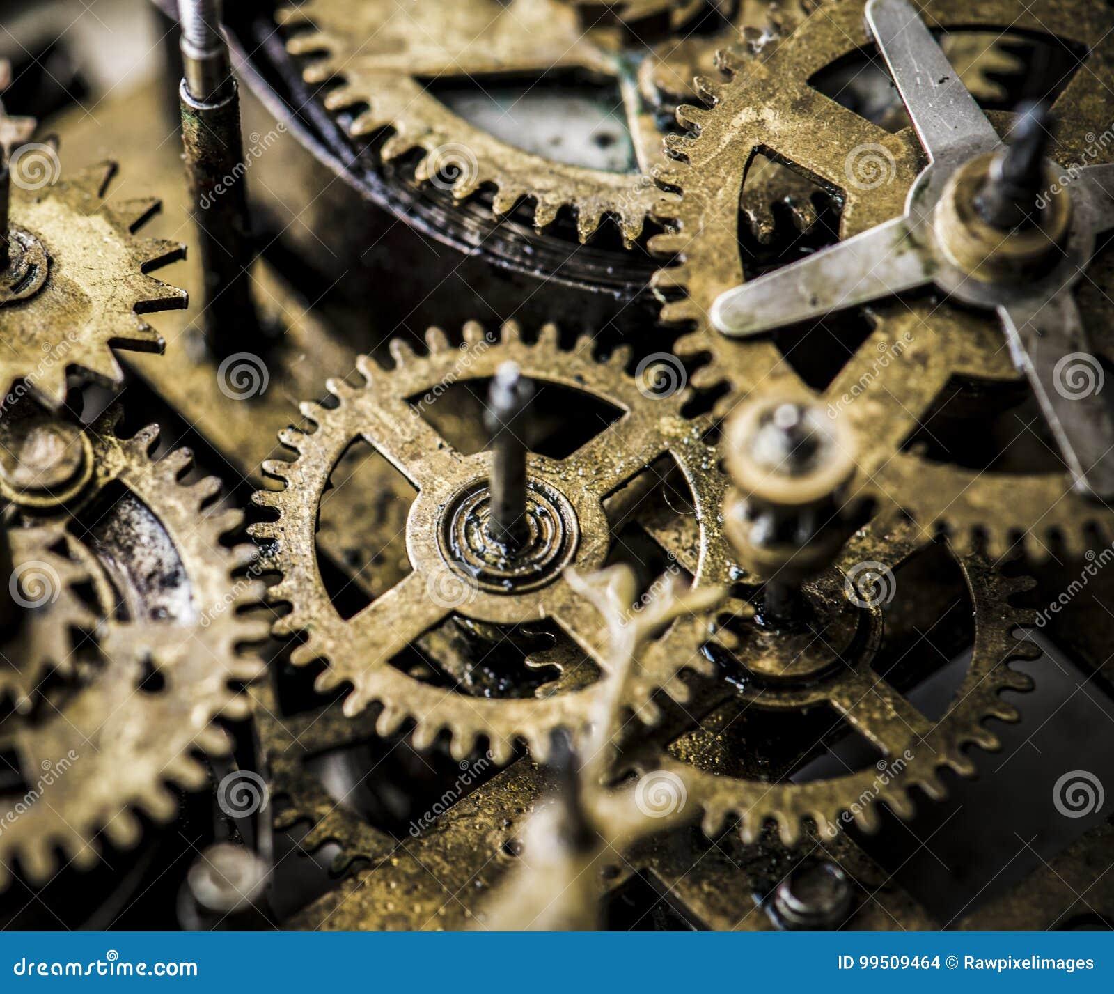 Close up das engrenagens e do maquinismo de relojoaria das rodas denteadas