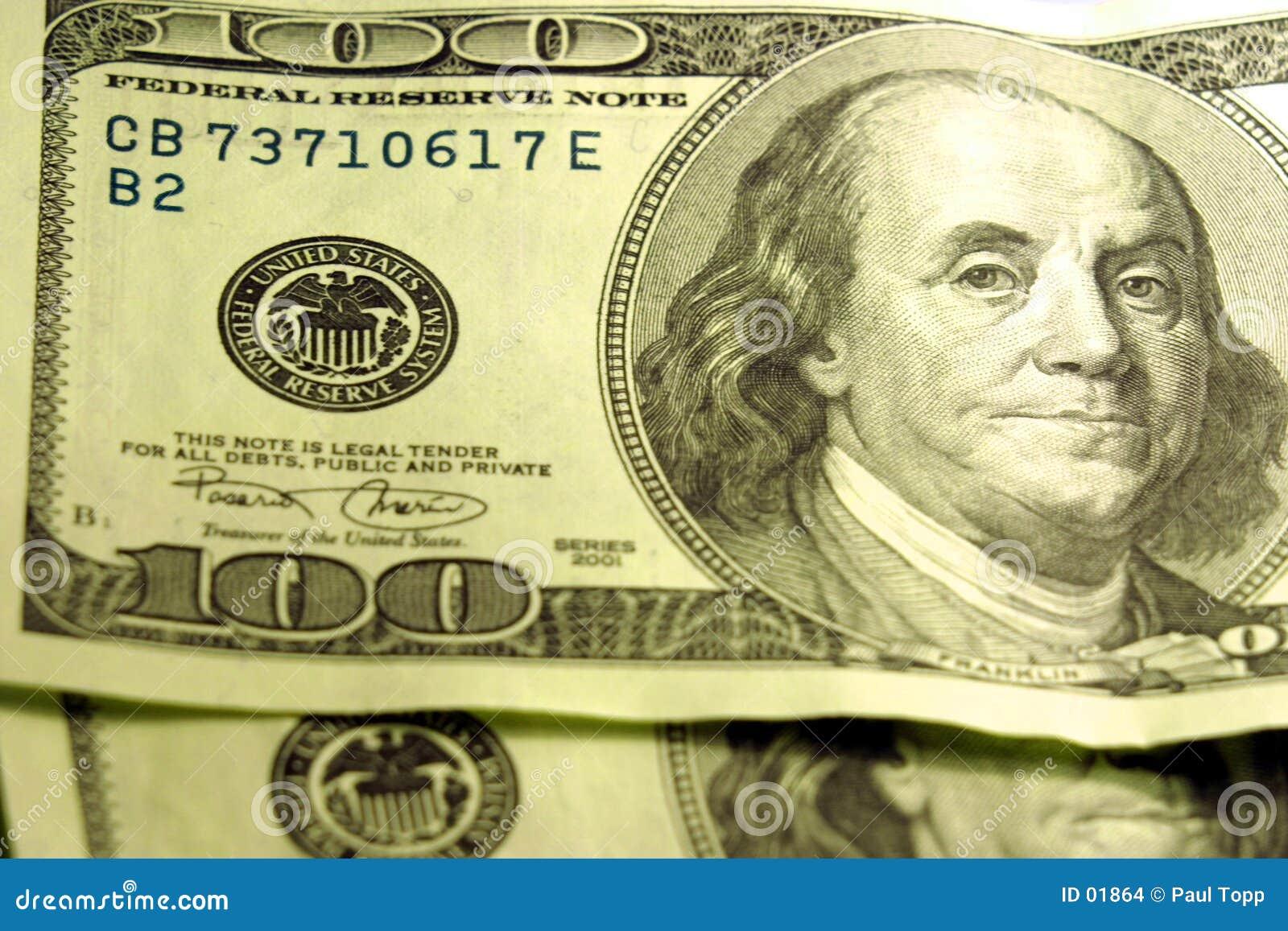 Close-up de $100 contas