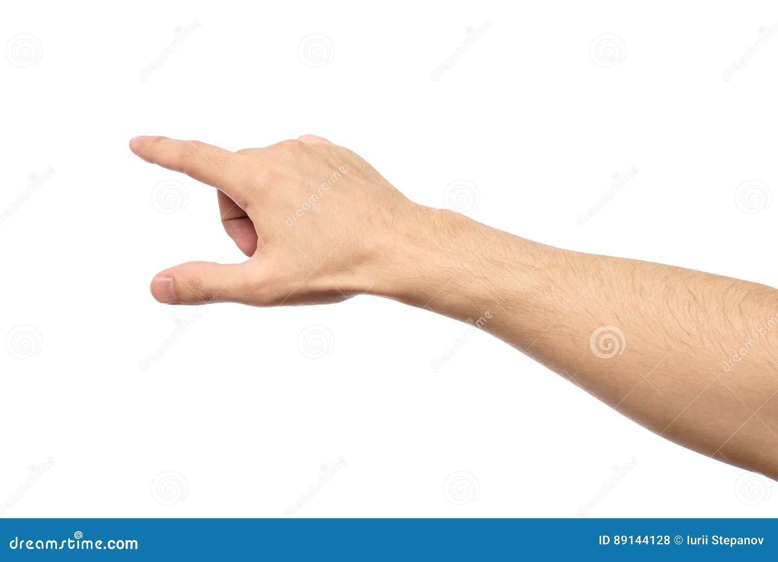 Close up de apontar masculino da mão isolado