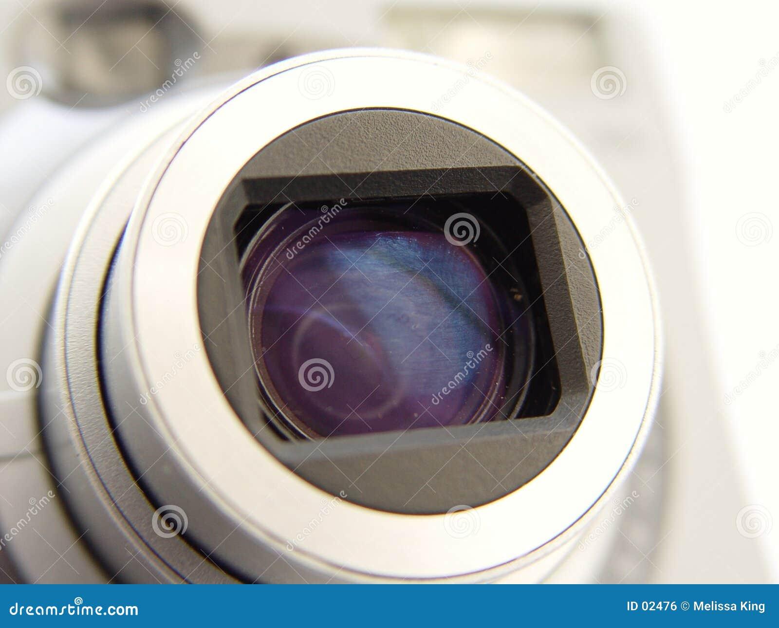 Close up de Len da câmera