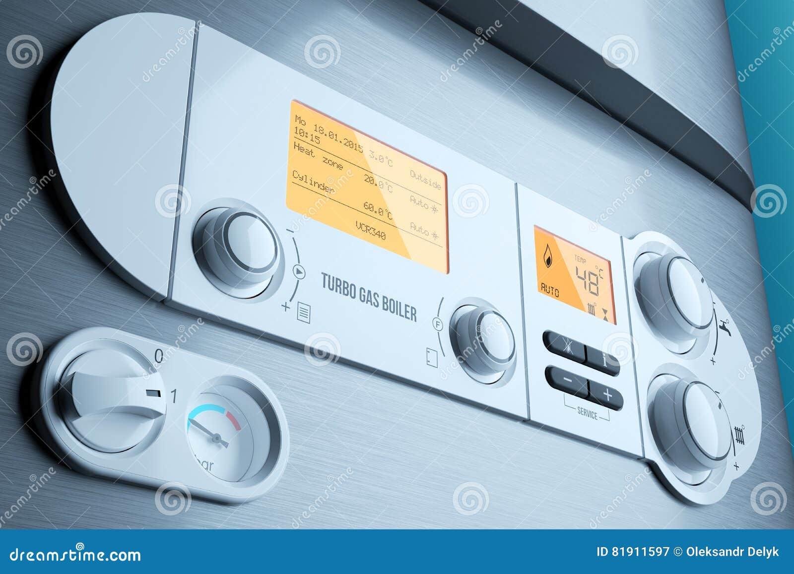 Close-up de met gas van het boilercontrolebord Huishoudapparaat
