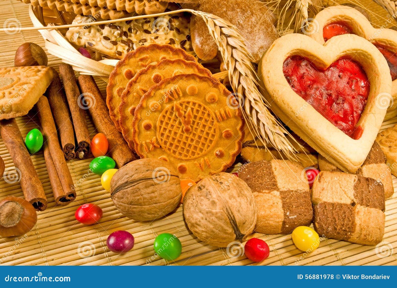 Close up de muitas cookies