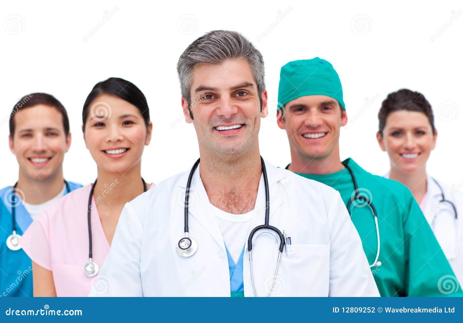 Close-up de uma equipa médica