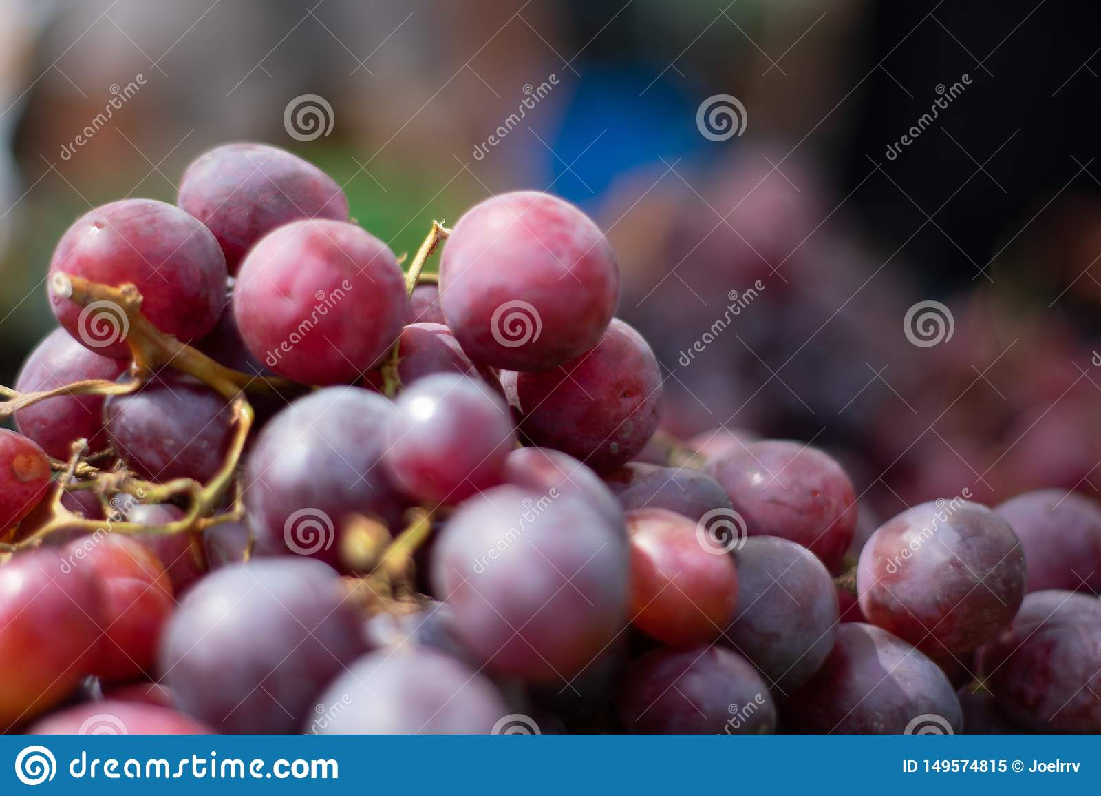 Close up de uvas frescas no fundo obscuro
