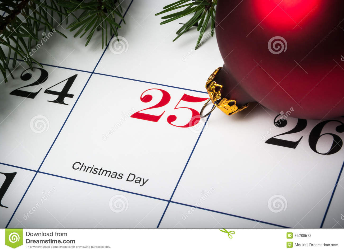 Close Up Of December 25th Calendar Stock Photography - Image: 35288572