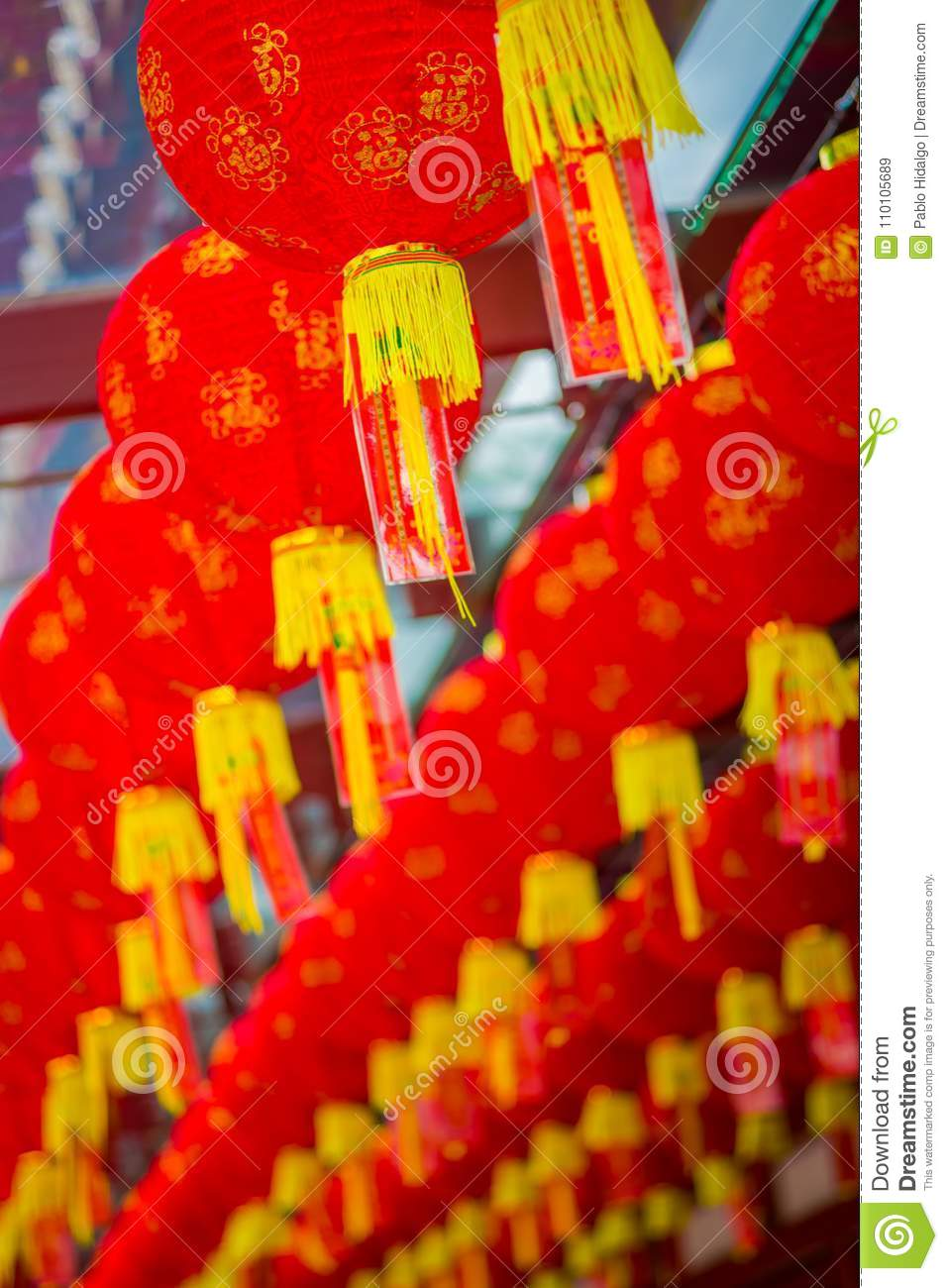 Close up of decorative lanterns scattered around Chinatown, Singapore. China`s New Year. Year of the Dog. Photos taken