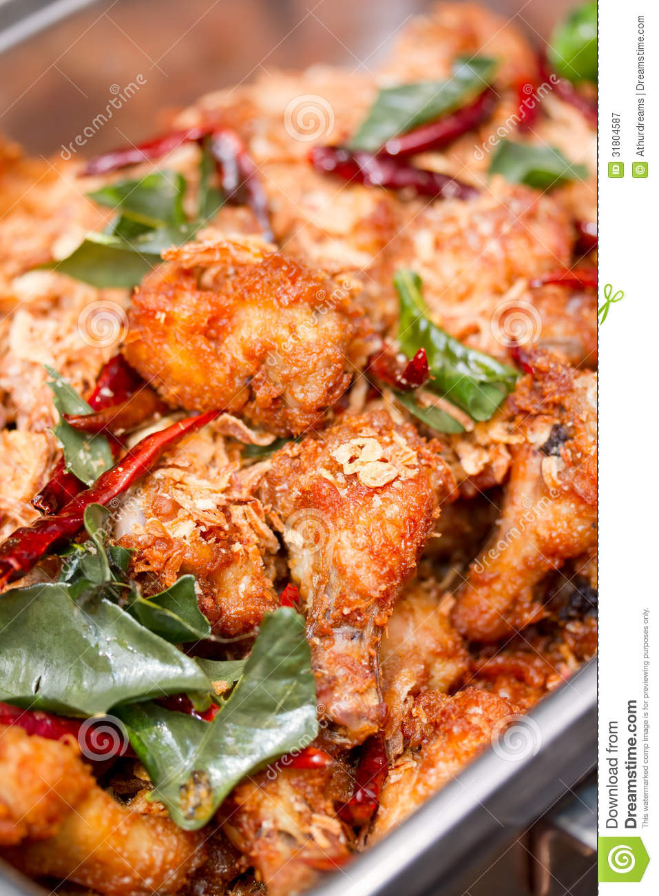 Close Up Of Deep Fried Chicken Wing With Thai Herbs Royalty Free Stock ...
