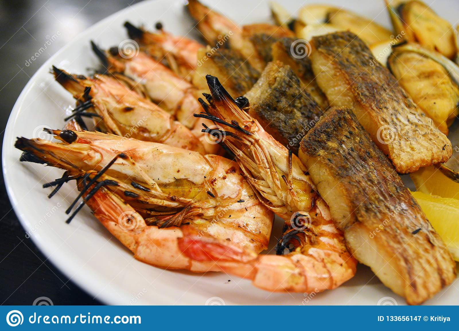 Close Up Of Delicious Grilled Seafood Platter Thai Food Style Stock Image Image Of Shell Seafood 133656147