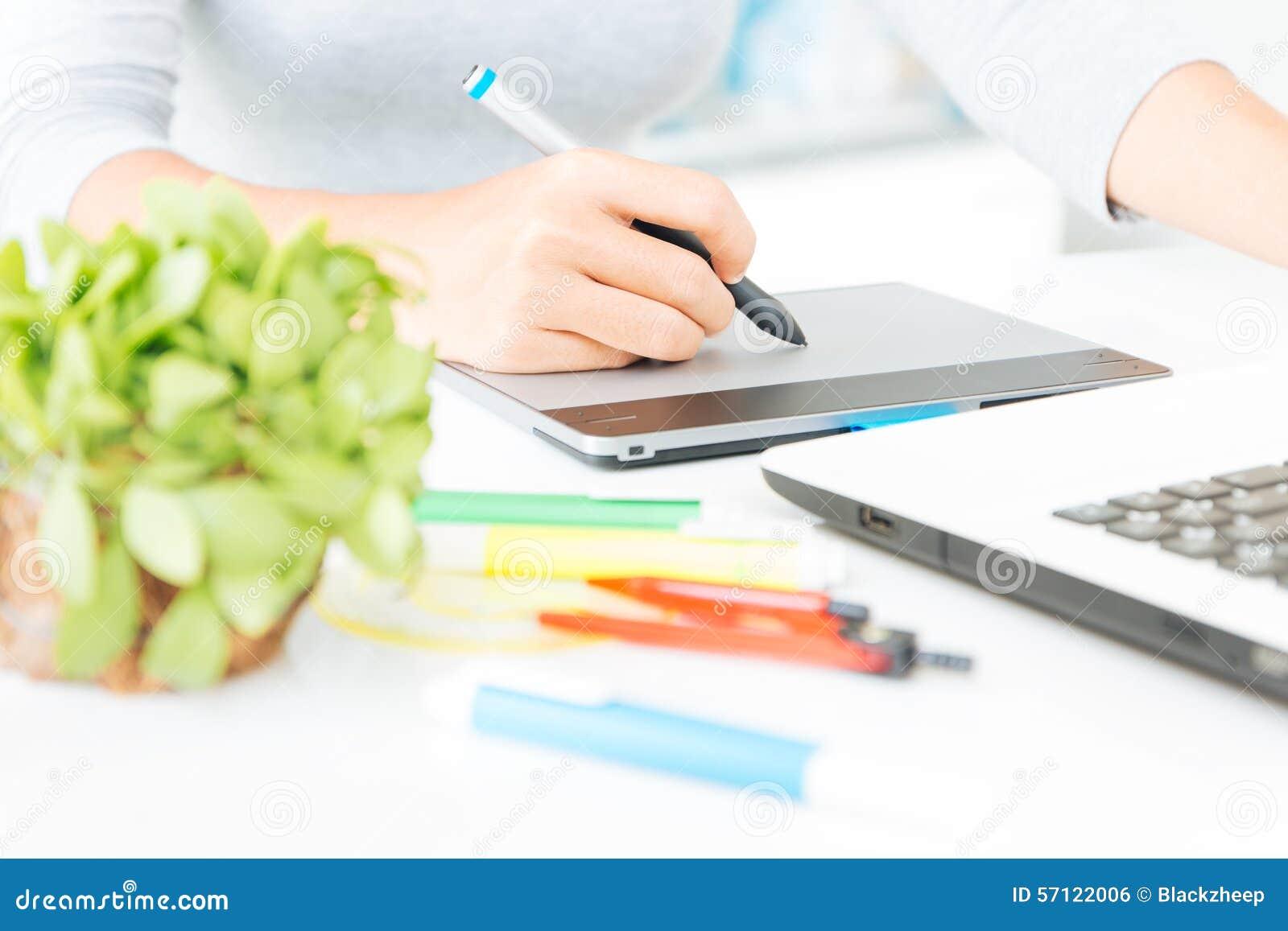 close up designer using graphic tablet design stock photo. Black Bedroom Furniture Sets. Home Design Ideas