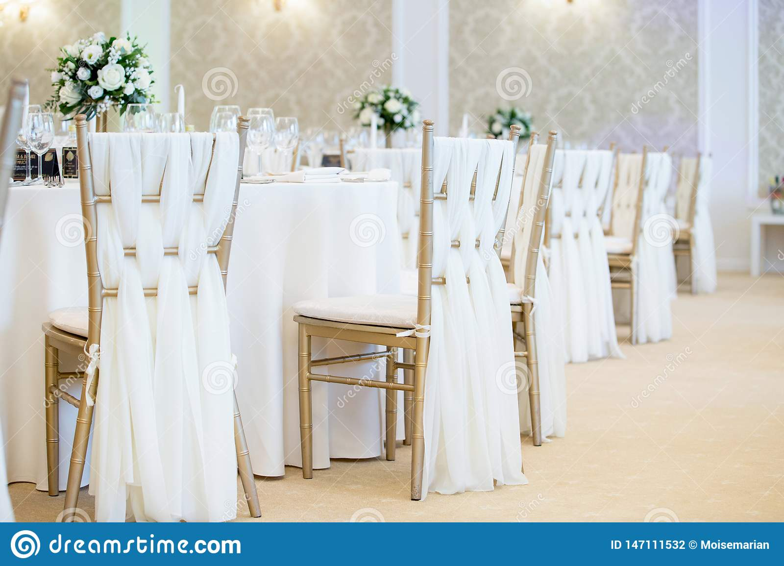 Close Up Detail Of Chairs Decorations Wedding Venue Stock Photo