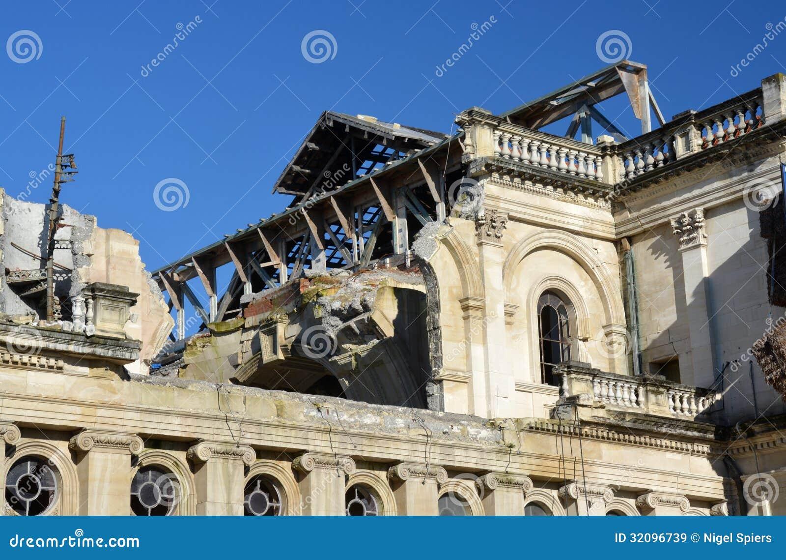 Close-up Detail Of The Damaged Christchurch Catholic