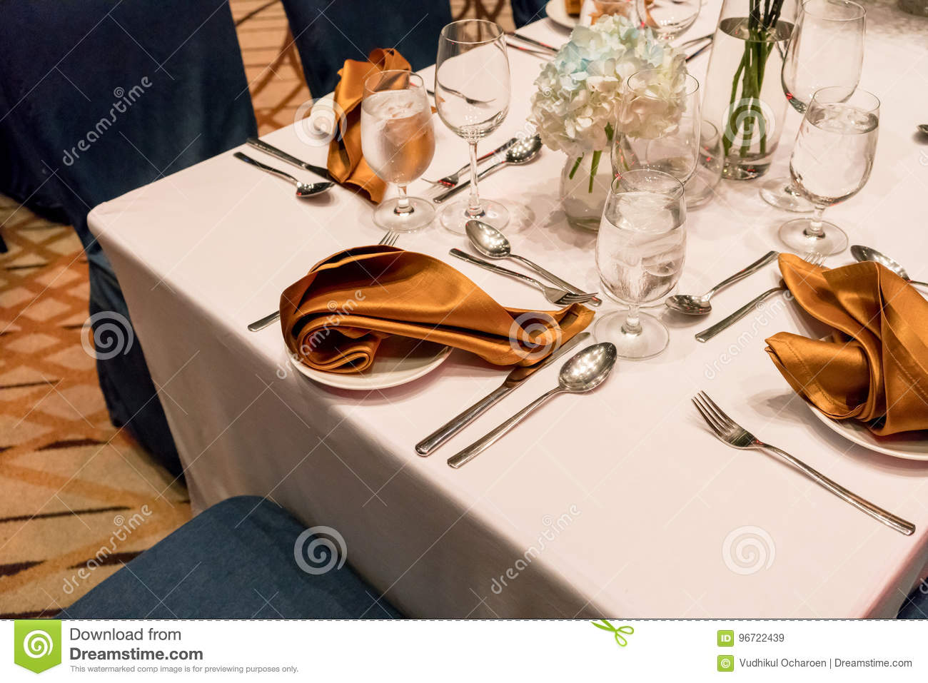 Close Up Detail Of Gold Napkin And Silverware On Elegant Table Stock Image Image Of Cocktail Banquet 96722439