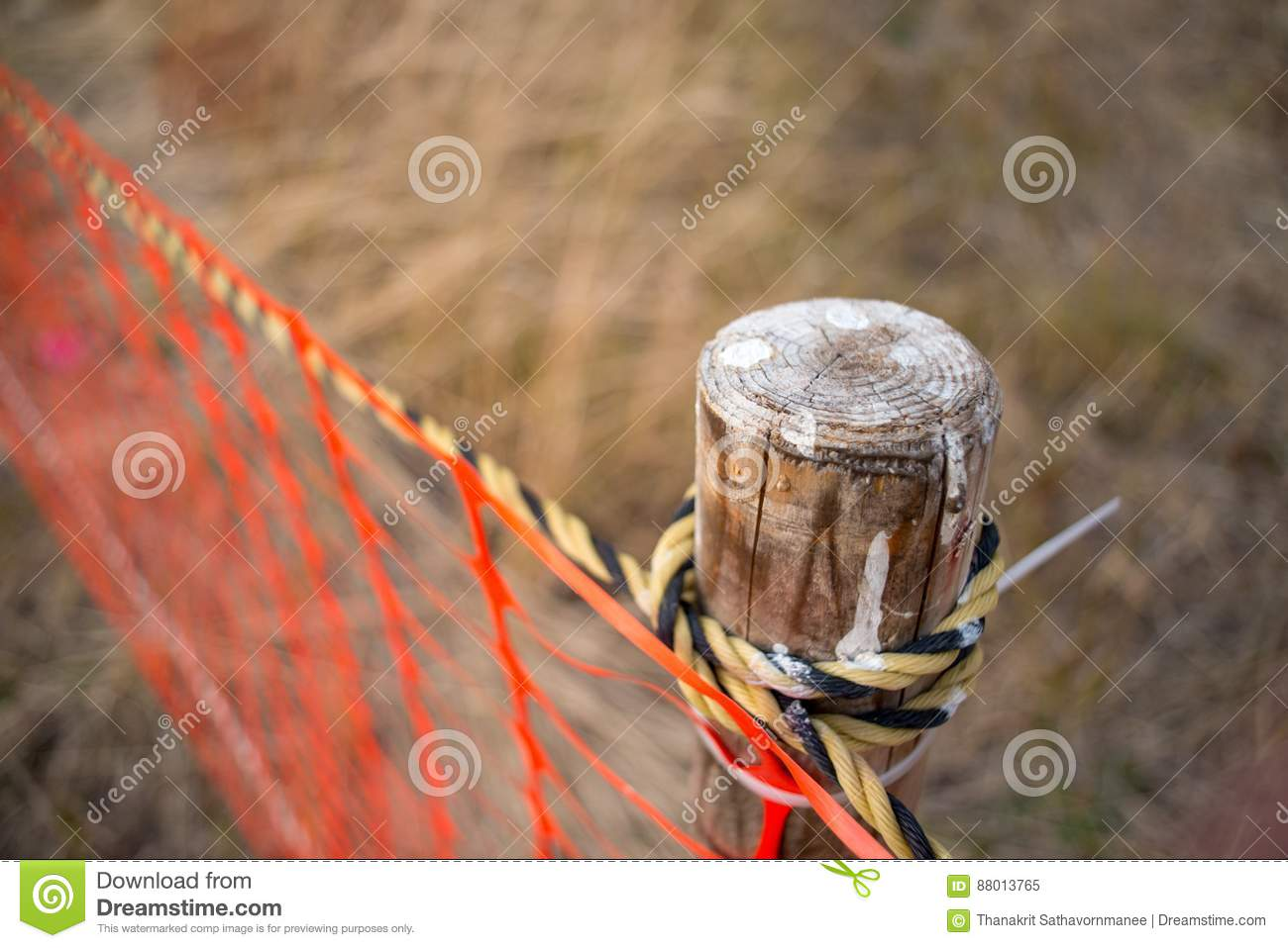 Wooden Fencepost And Rope At Temporary Fence Stock Image Image Of