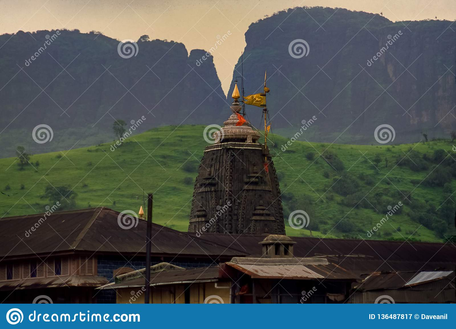 Close-up die van shikha Trimbakeshwar Shiva Temple jyotirling