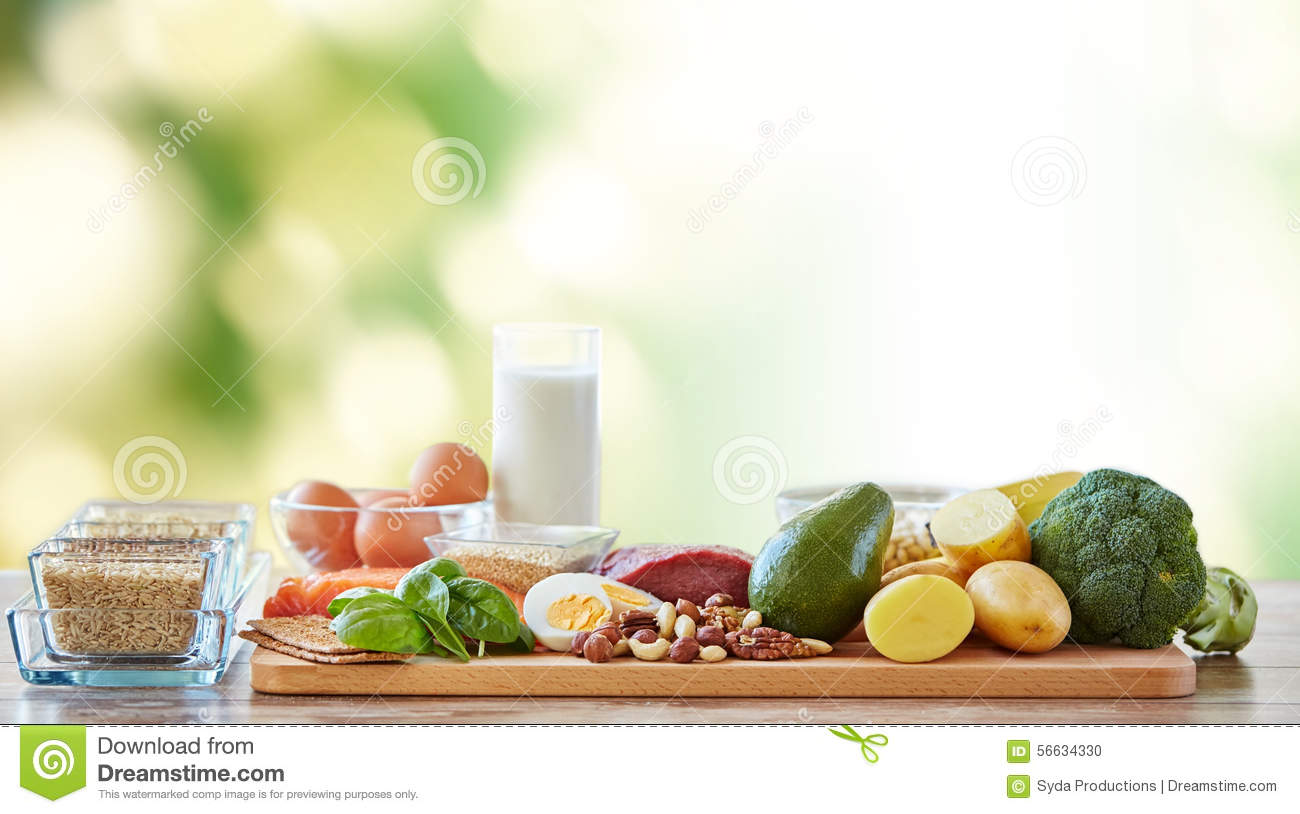 ... Of Different Natural Food Items On Table Stock Photo - Image: 56634330