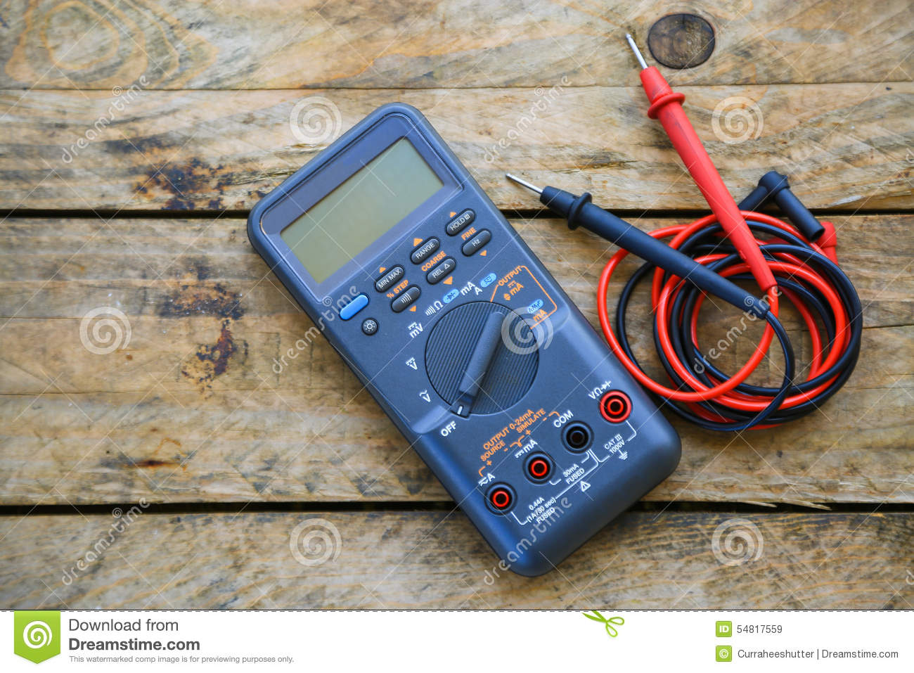 Close-up Of Digital Multimeter On Wooden Background, Worker Used ...