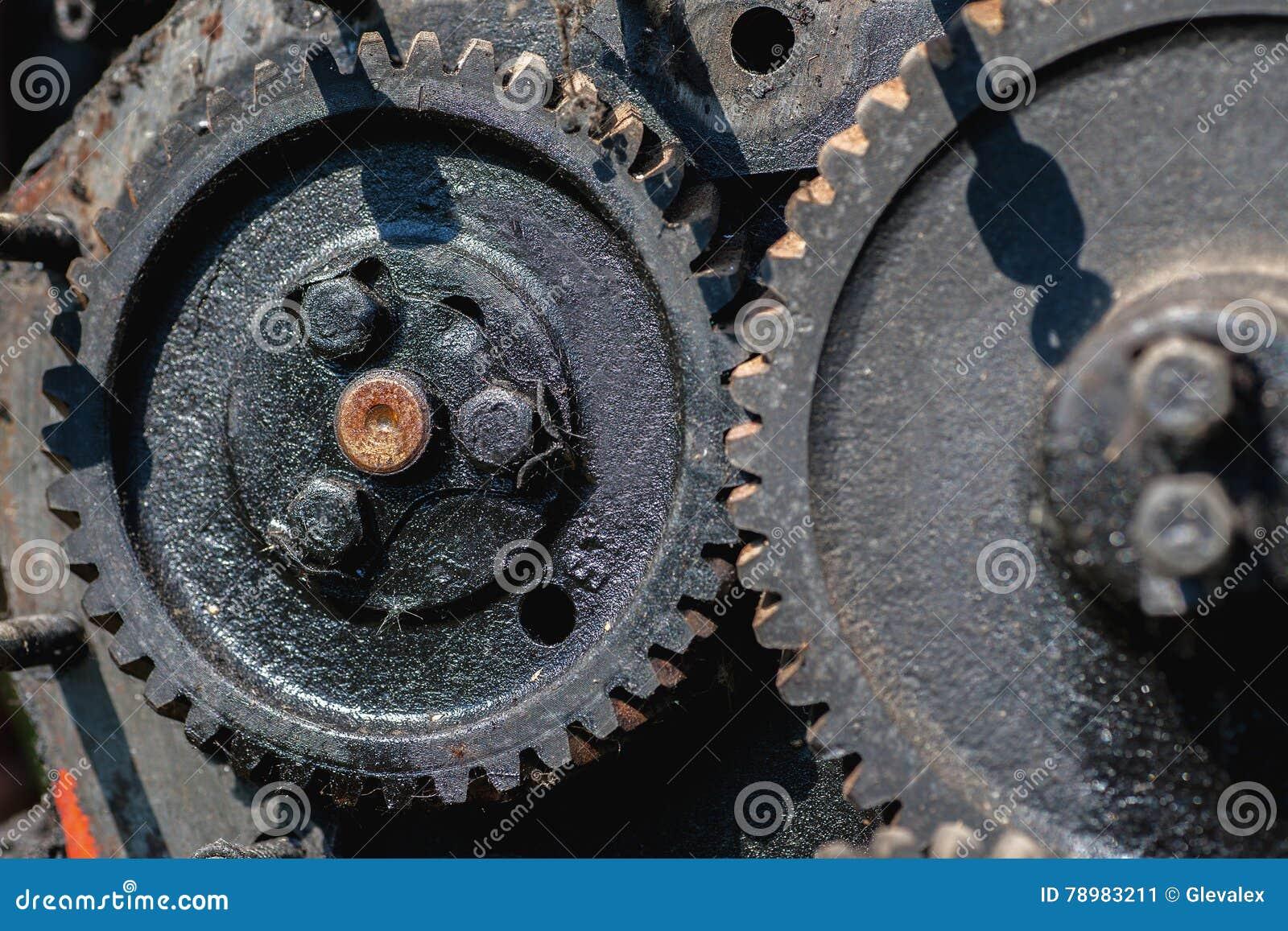 Close up disparado de rodas denteadas grandes