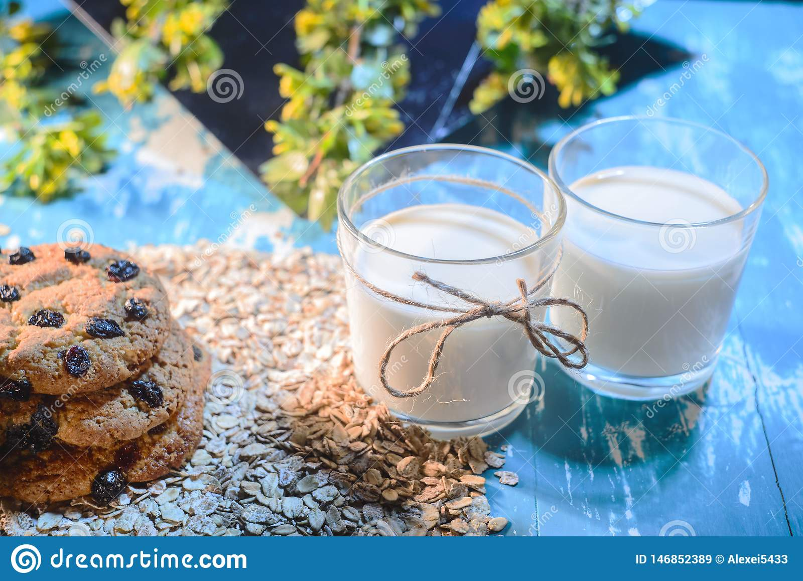 Close up do leite da aveia O conceito de uma dieta do vegetariano