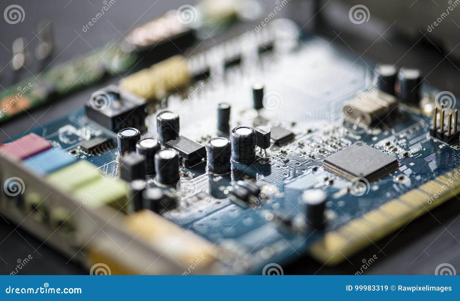 Close up do mainboard dos microprocessadores dos componentes de computador da eletrônica