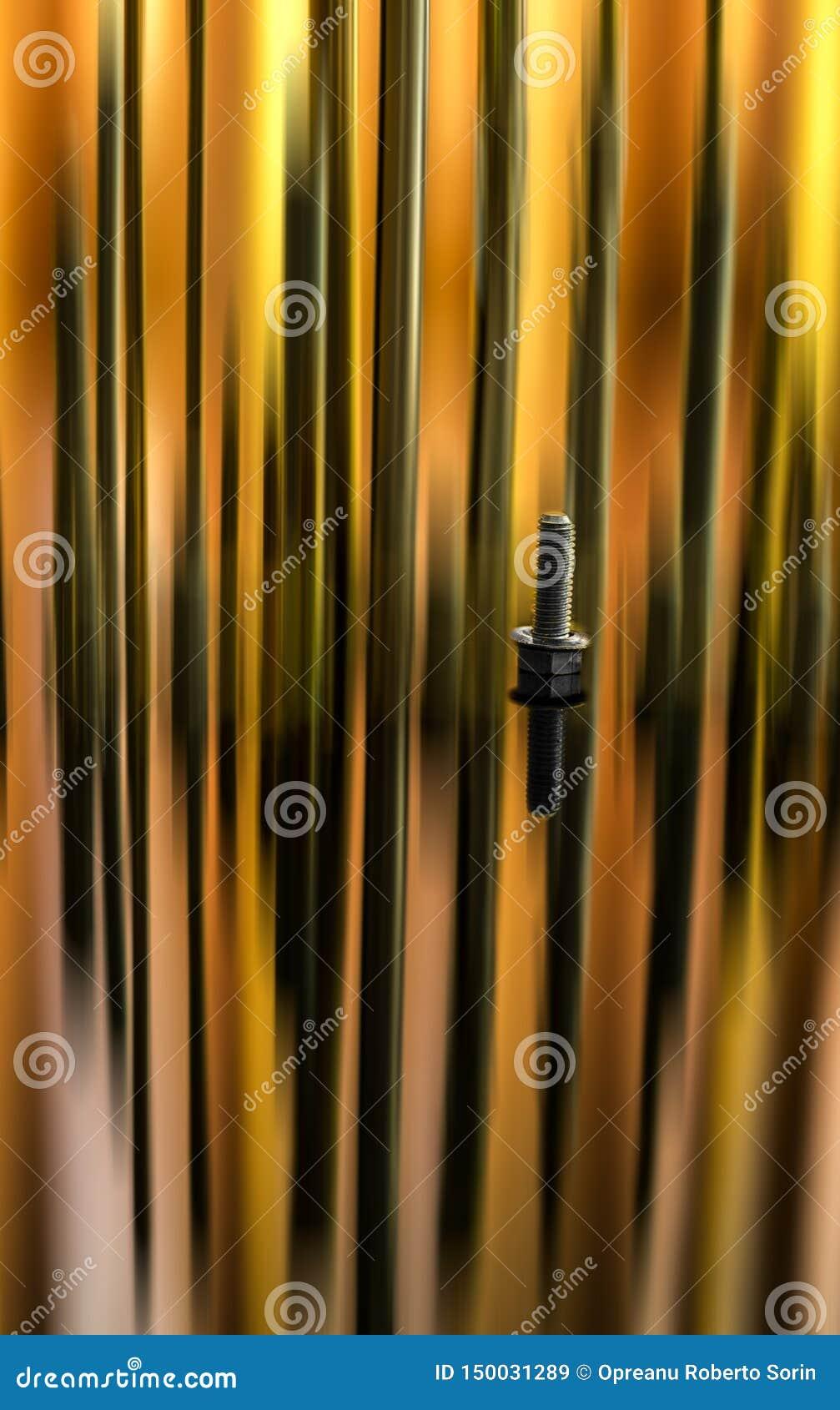 Close-up do parafuso do metal com borrão da reflexão e de movimento