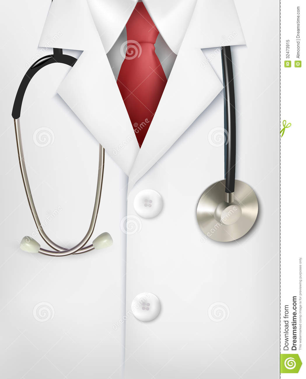 Close up of a doctors lab white coat and stethosco royalty free stock