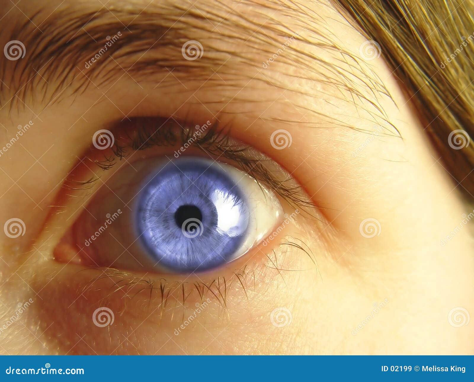 Close up dos olhos azuis