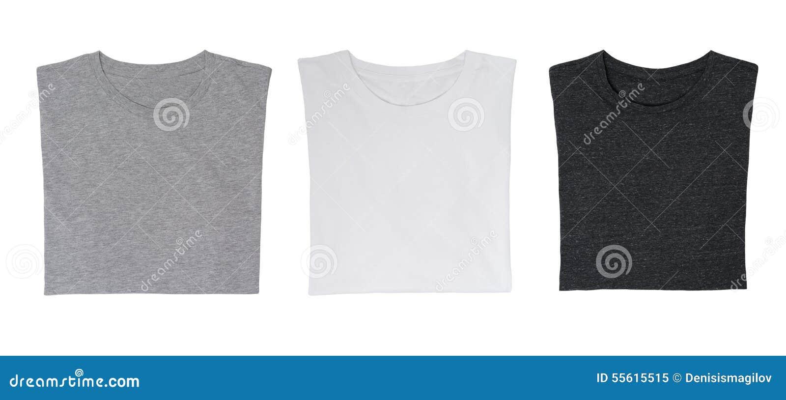 Close-up dos três t-shirt (preto, branco e cinzento)